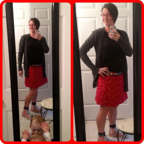 Happy Kelly in her Zand Amsterdam skirt, photobomb courtesy of Lucy Q