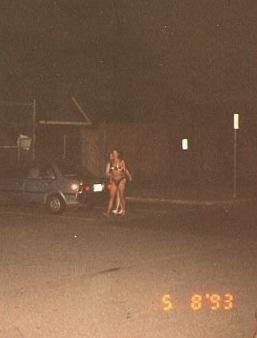 In my underwear, in the parking lot, 1993.  High school was weird.  I was not always uncomfortable in my underwear.